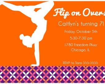 Girls Mod Gymnastics Printable Invitation Pick Your Design PDF