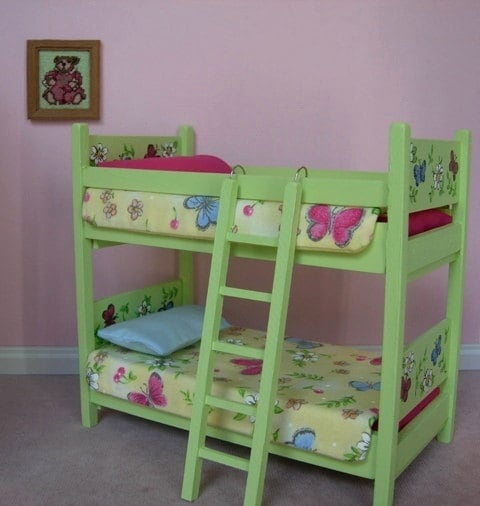 Bunk beds doll house : Miniature bunk bed with linens dollhouse scale ooak