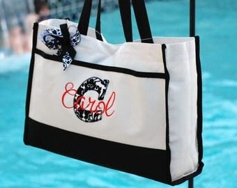 Personalized tote bag wedding bridesmaid flower girl overnight beach