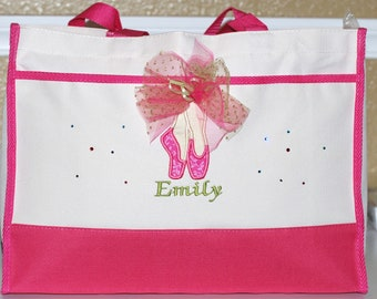 Girls personalized dance bag tote with dance shoes and name flower girl tote