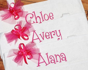 Girls personalized small canvas tote bag great birthday bag flower girl ring bearer gift craft travel tote