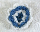 Crocheted Flower in Blue and White