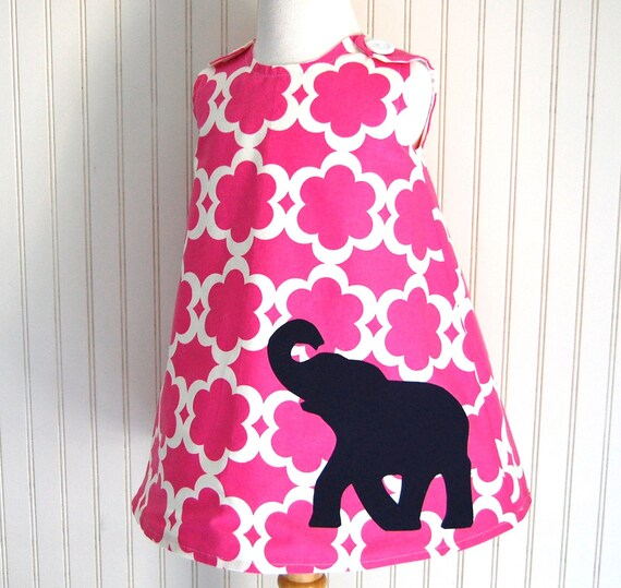 SPRING SALE - Girls Elephant Dress in Navy Blue and Quatrefoil Bright Pink - Jumper Sizes 12 -18 mos and 2T only by The Trendy Tot