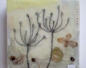 In the Hum, encaustic, flowers, queen anne's lace pairing