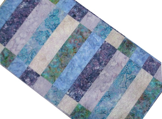 Purples  Table Quilted Runner by etsy quilted Batik runners table and Blues Sieberdesigns in