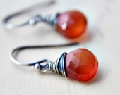 Rust Stone Earrings Dark Tomato Red Chalcedony Sterling Silver Wire Wrapped Fashion