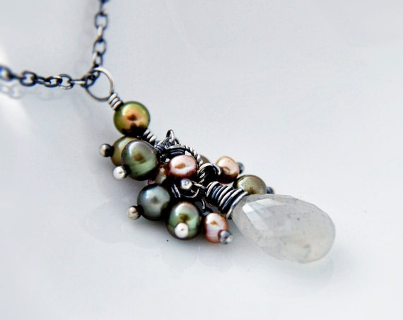 Moonstone Necklace, Pendant Necklace, Gray Moonstone, Wire Wrapped, Freshwater Pearls, Sage Green, Sage Pearls, Sterling Silver, PoleStar