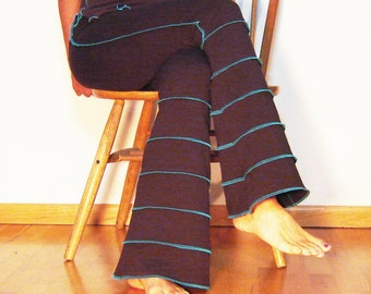 Flare Stripe Yoga Pants in Brown Stretch Organic Soy Cotton by Dancing Tree Fire spinning