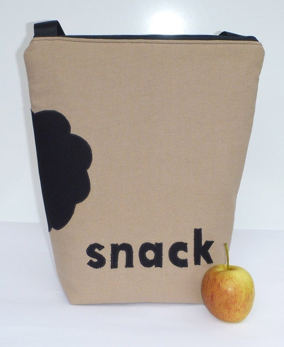Insulated Lunch Bag Zip snack Brown Lunch Bag Adult Lunch Bag by BonTons on Etsy