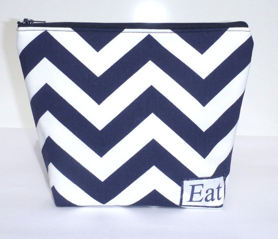 Insulated Lunch Bag Little Zip Eco Friendly Navy Stripe Chevron Lunch Bag by BonTons on Etsy