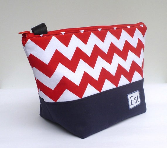 Insulated Lunch Bag Tote  Eco Friendly Zip Picnic Red Chevron Lunch Bag by BonTons