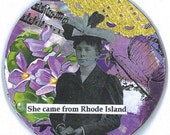 Fridge Magnet Locker Magnet Word Art Handmade Silly Collage Vintage Style Geekery  -- Oh Those Rhode Islanders