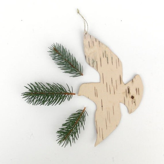 Birch bark bird ornament, Turtle Dove