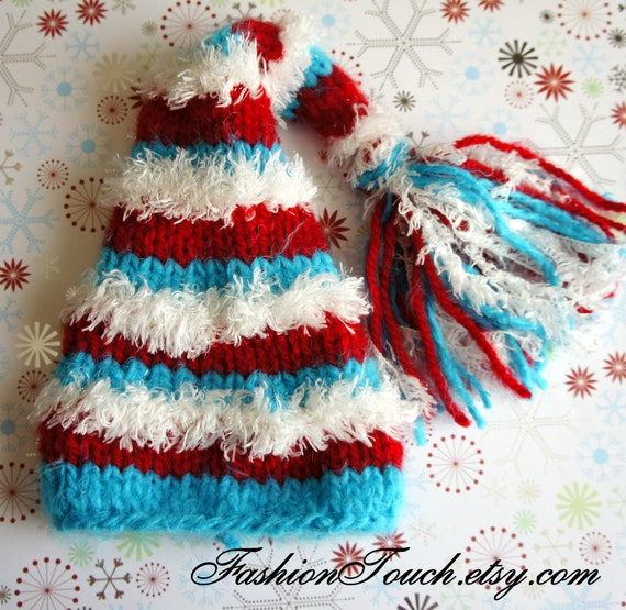 SALE Christmas Newborn Baby Hat, Stocking hat in Blue, Red White