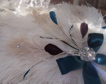 Ostrich Elegance Fan Bouquet in your choice of accent colors Great Gatsby Roaring 20s