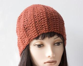 Orange Hat, Hand Crochet Hat, Burnt Orange Cloche, Wool Slouchy Beanie, Ready to Ship