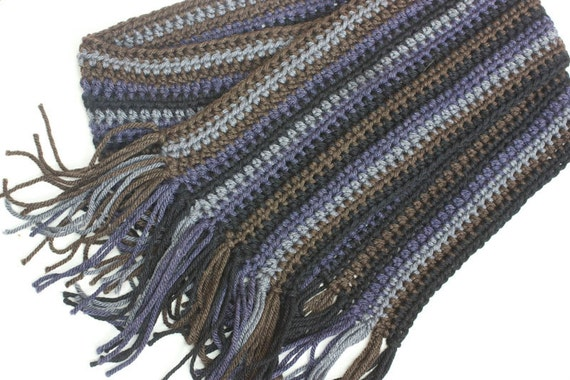 Crochet Mens Scarf : Mans Hand Crocheted Scarf, Wool and Silk, Striped Unisex Scarf, Men ...