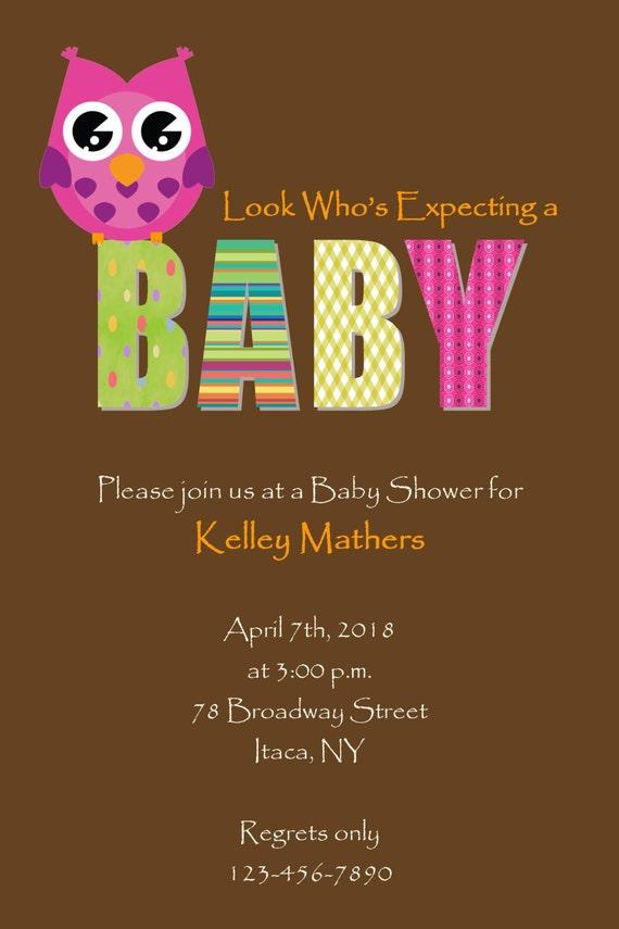Items similar to owl girl baby shower invitation diy for Etsy owl wedding invitations