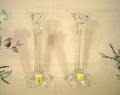 Vintage Nachtmann German Crystal Star Candlesticks MWT