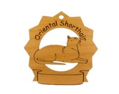 7275 Oriental Shorthair Cat Personalized Wood Ornament