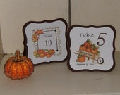 Fall Table Numbers for Weddings