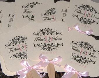 100 Wedding Fans with Monogram, Wedding Fans, Fans