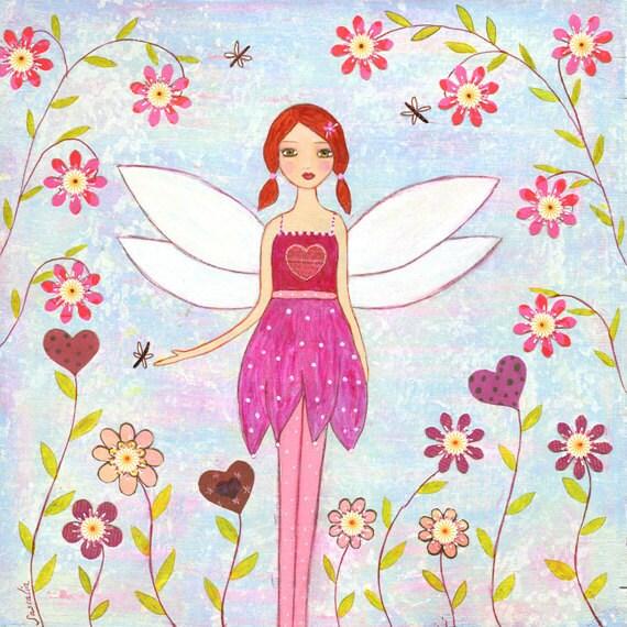 Dragonfly Fairy Painting Art Block Print