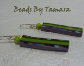 Polymer Clay Earrings, Green and Purple stripes, Sterling Ear Wires