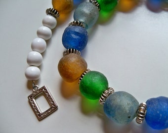 AFRICAN RECYCLED GLASS Choker/African Necklace/Bottle Bead Necklace/Recycled Glass Necklace/Tribal Necklace