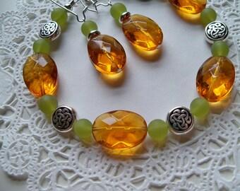 CELTIC BRACELET and EARRINGS Set/Amber Bracelet/Amber Earrings