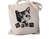 CAT MEOW Tote Bag - Kitty Cat on a Natural Canvas Tote Bag
