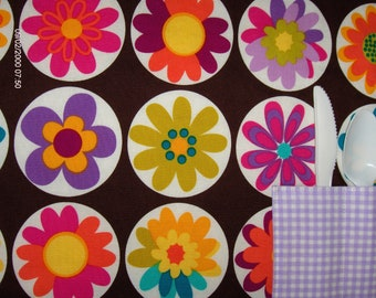 Child's Placemat for Girls.  Bright Color Flowers. Reversible, Fun Print with Utensil Pocket. Pink & Purple Polka Dots Borders.