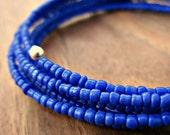 Memory Wire Bracelet: Blue Beaded Adjustable Memory Wire Wrap Plus Sized Bangle, Ink