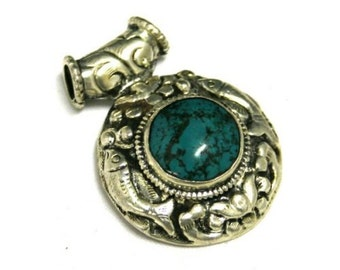 Detailed Tibetan Silver Focal Pendant with Tibetan Turquoise Cabochon -- 2 x 1.5 inches -- REVERSIBLE--PD-SL-32