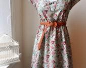 Jennifer Lilly Handmade Sage Green English Rose Garden Tea Dress // Woodland Rose Garden Bohemian Antique Rose Tea Dress (XS,S,M,L,XL,XXL)