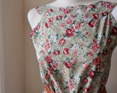 Floral Dress Romantic English Roses in Sage Green Boatneck Dress S M