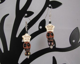 Mahogany resin Skull with creepy smiley stone star sterling dangle earrings