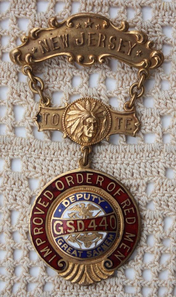 Improved Order of Red Men Fraternal Society Medal Badge