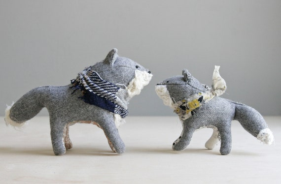 grey fox & kitten / soft sculpture animals