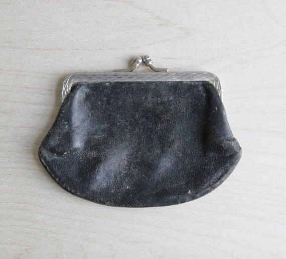 vintage leather change purse / black