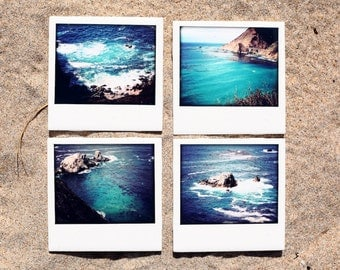 Big Sur California Coaster Set (4) Ceramic Drink Coasters - Blue Coasters Beach Coasters Ocean Coasters California Coasters