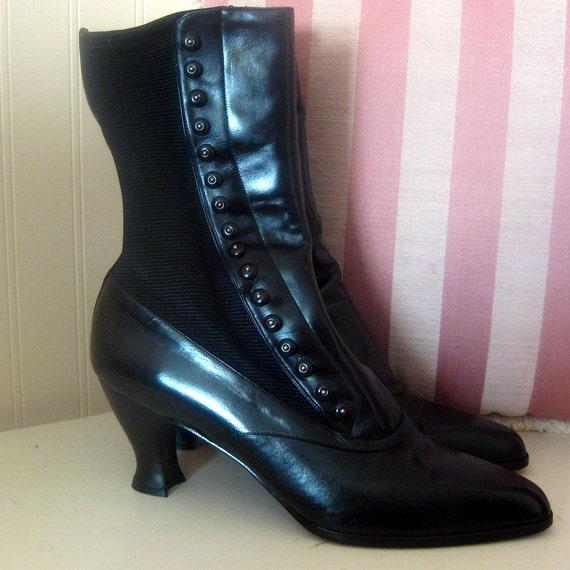 SALE  Vintage Sz 10 Black Leather Stuart Weitzman Goth Victorian Steampunk Gypsy Circus Heeled Boots