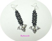 Hand Woven Seed Bead Earrings with Skull and Bat Wings Charm