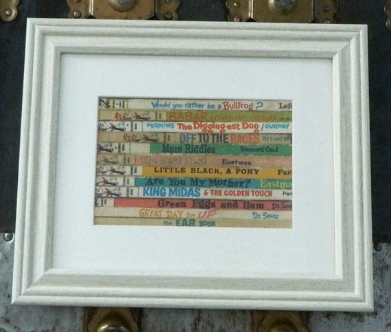 Dr Seuss Framed Wall Art Decor Recycled Vintage Book