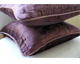 """Handmade Plum Cushion Covers, 16""""x16"""" Velvet Throw Pillows Cover, Square  Solid Color Bead Cord Throw Pillows Cover - Plum Shimmer"""