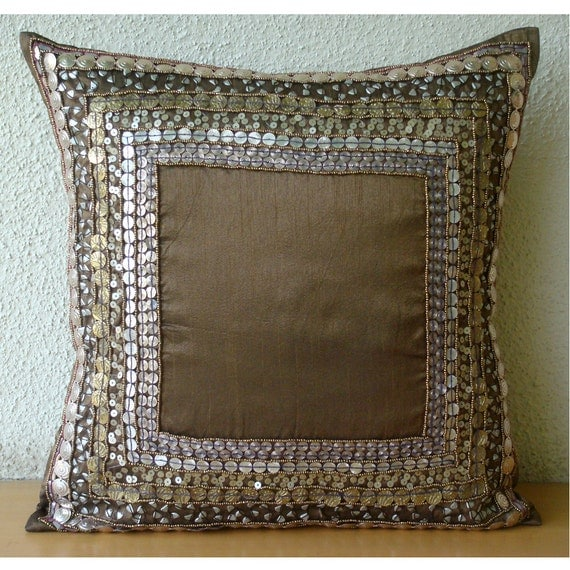 Decorative Throw Pillow Covers Accent Pillows Couch Pillows 16x16 Brown Silk Pillows Embroidered Home Living Decor Housewares Ethnic Origins