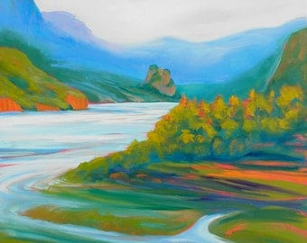 Columbia Gorge From Rooster Rock of Beacon Rock 3 original acrylic painting