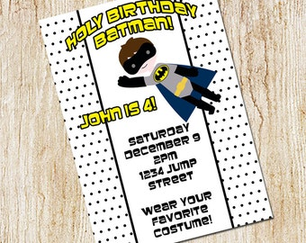 Batman Party invitation- Boy's Birthday Invitation- Digial File, print yourself
