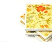 Ceramic Tile Coasters - Yellow, Green and Orange Flowers (Set of 4 Coasters) - LAST SET