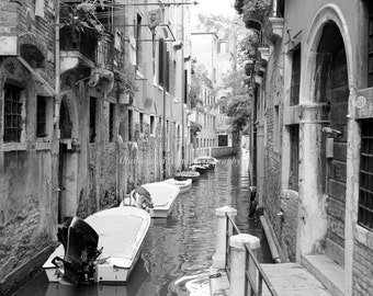 Boats along the Canal, Venice  - 5 x 7 Fine Art Black and White Photograph, Italy, Italian, Travel Wall Art